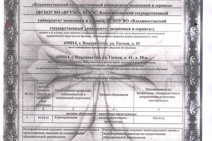 Институт права ВГУЭС получил Лицензию Федеральной службы по надзору в сфере образования и науки на осуществление образовательной деятельности (магистратура)