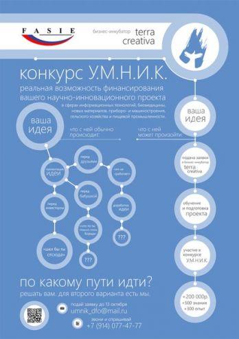 Внимание! 22 ноября 2013 года в ДВФУ пройдёт защита проектов по программе УМНИК. Приём заявок до 13 октября 2013 года.